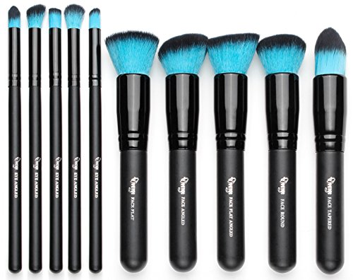(Qivange Makeup Brushes, Premium Synthetic Foundation Powder Eyeshadow Blush Concealer Kabuki Brush Set (10pcs, Black with)