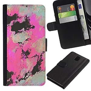 Billetera de Cuero Caso Titular de la tarjeta Carcasa Funda para Samsung Galaxy Note 3 III N9000 N9002 N9005 / Art Painting Artistic Drawing / STRONG