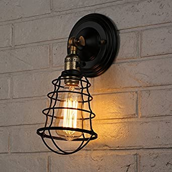 Caged Wall Sconce With Switch : T.Y.S Lighting Vintage Style 1 Light Industrial Wire Cage Sailor Pendant Wall Sconce (Bronze ...