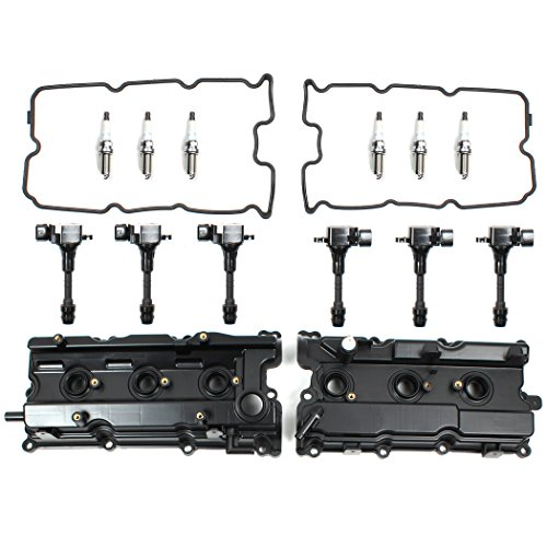 Brand New V6 Engine Valve Cover, Gasket, NGK Spark Plug, Tube Seal, Ignition Coil Set For 2002-09 Nissan 3.5L DOHC QR35DE