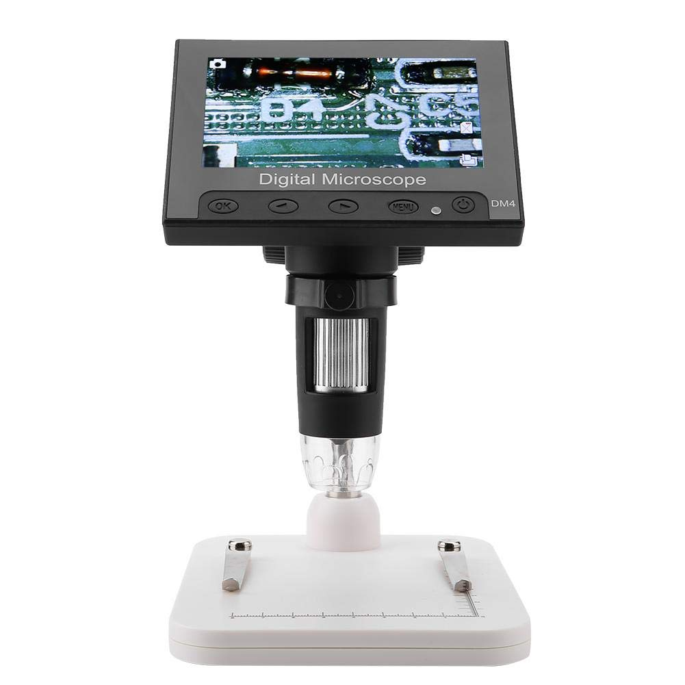 Akozon USB Microscope 4.3inch 2MP Display Photos & Videos 8LEDs with Holder(Plastic Holder)