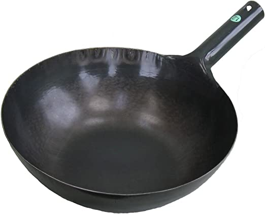 Thick 1.2mm 36cm Round Bottom 14.17 Made in Japan Yamada kan 62-3812-74 Carbon Steel Wok