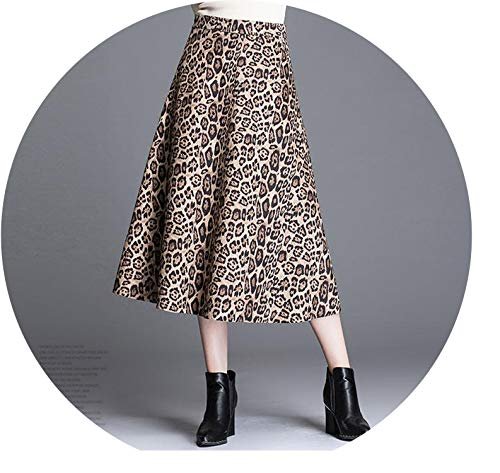 Leopard Print A-line Skirts Maxi Skirts Woolen Women for sale  Delivered anywhere in Canada