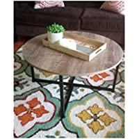 32 Inch Round Coffee Table GreyFarmhouse Rustic Traditional Furniture Metal Contemporary Living Room Low Office Sturdy Black & eBook by OISTRIA