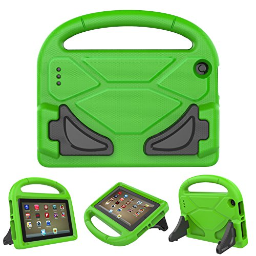 Gouproad Kindle Fire 7 Kids Case - Light Weight Kid-Proof Shockproof Safety Protective Convertible Stand Posture Cover Case for Fire 7 inch Display Tablet (Green) (Cover Case Protective Stand)