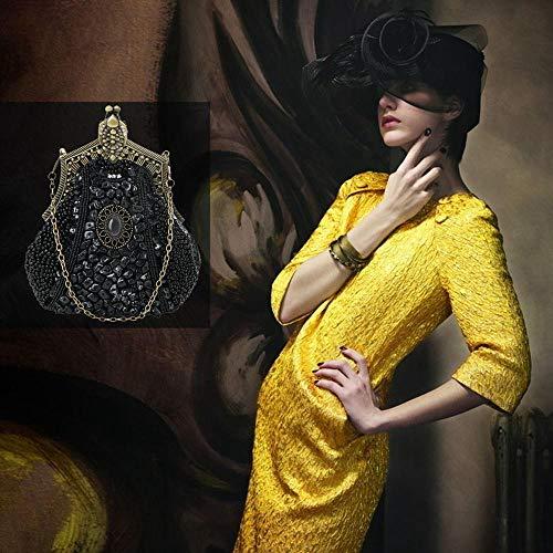Embrague Con De Durable Niñas Aolvo Bolso Gris Para Cadena Y Cuentas Mano Antiguas Noche Negro Vintage Mujeres Diseño qtqvp