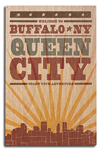- Buffalo, New York - Skyline and Sunburst Screenprint Style (10x15 Wood Wall Sign, Wall Decor Ready to Hang)