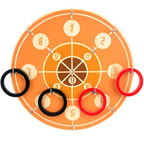 w Zealand Pine Wood Board, Classic Ring Toss Dart Game | Simple, Easy Setup Hang Up Indoor/Outdoor | Family Game Night and Popular Bar Game | 12 Silicone Rings and 13 Metal Hooks ()
