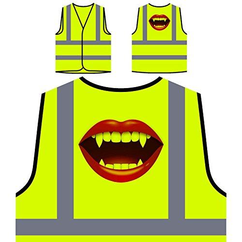 Vampire kiss smile Lipps Novelty gift Personalized Hi Visibility Yellow Safety Jacket Vest Waistcoat p58v