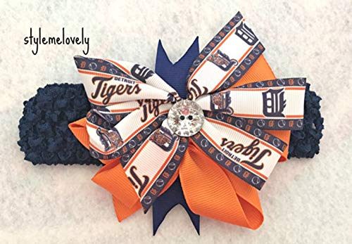 Detroit Tigers Baby Girl Boutique Bow Crocheted Headband- Fits newborn- adult