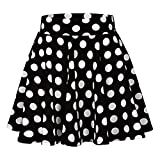 2019 Womens Summer Dot Printed Skirt Party Cocktail High Waist Midi Skirts (Black, S)