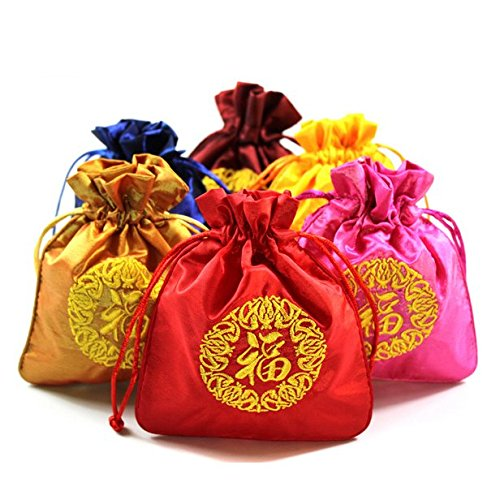 AUCH 6Pcs Deluxe Chinese Silk Brocade Drawstring Jewelry Pouch Gift Bag Buddha Beads Tote, Assorted Color, Spring Festival New Year Gifts(Embroidered Fu), 12 x 15cm -
