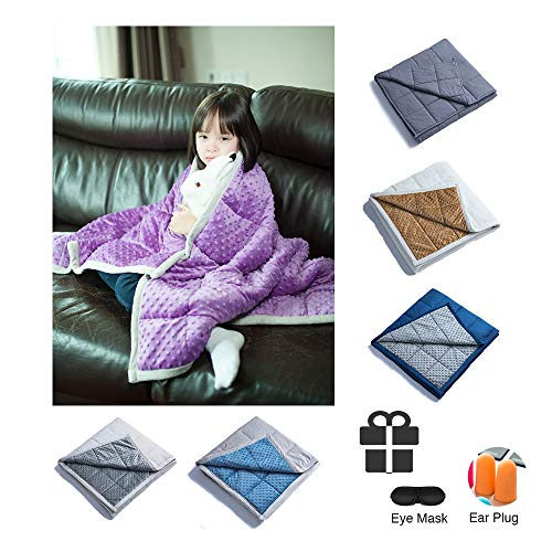 Daverose Kids/Adults Minky Dot Weighted Blanket | One Piece Design | Twin/Full Bed (Violet Minky Dot/Light Grey, 38