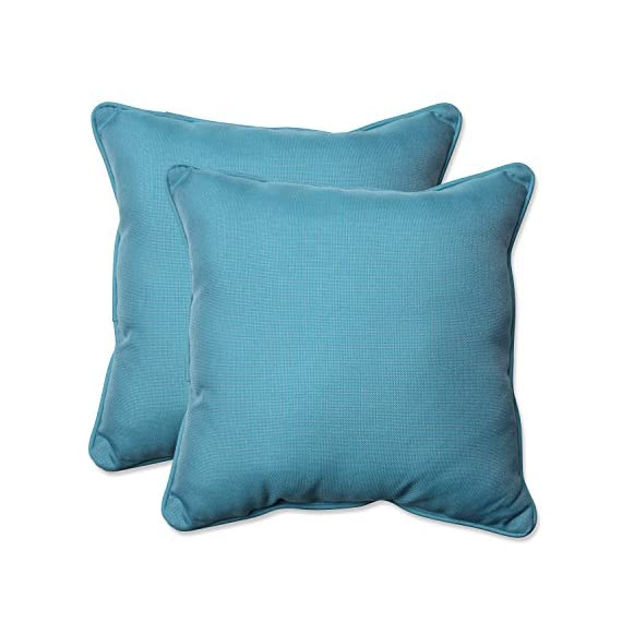 "Pillow Perfect Outdoor/Indoor Tweed Throw Pillow (Set of 2), 18.5"", Aqua - Includes two (2) outdoor pillows, resists weather and fading in sunlight; Suitable for indoor and outdoor use Plush Fill - 100-percent polyester fiber filling Edges of outdoor pillows are trimmed with matching fabric and cord to sit perfectly on your outdoor patio furniture - patio, outdoor-throw-pillows, outdoor-decor - 51CcYm5WRTL. SS570  -"