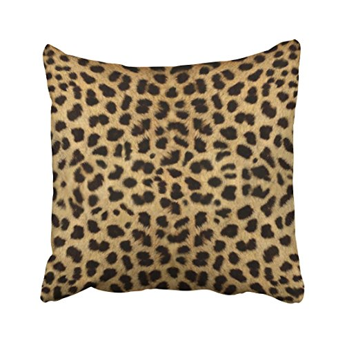 Bed Cheetah - Emvency Decorative Throw Pillow Cover Square Size 20x20 Inches Cheetah Fur Pattern Cheetah Print Pillowcase With Hidden Zipper Decor Fashion Cushion Gift For Home Sofa Bedroom Couch Car