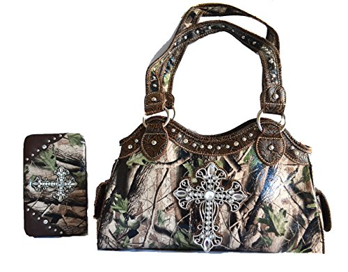 camo mossy oak blue pink brown rhinestone cross purse set...