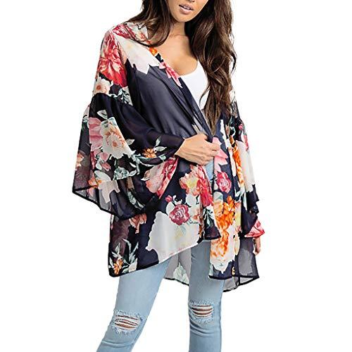 Towallmark Women Boho Floral Printed T-Shirt Chiffon Dress Beach Shawl Kimono Long ()
