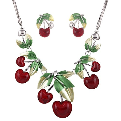 [Vintage Red Cherry Pattern Enamel Necklace Earrings Set New Fashion Statement For Women Party Cute Gift Bijoux Femme] (Bollywood Costumes For Men)