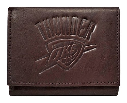 Rico Oklahoma City Thunder NBA Embossed Logo Dark Brown Leather Trifold Wallet by Rico