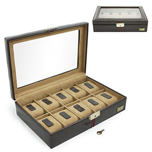 CORDAYS Handcrafted 10 Grid Watch Box in Brown European Leather with Top Glass Display Premium Quality CDM-00003A - Brown Leather Box