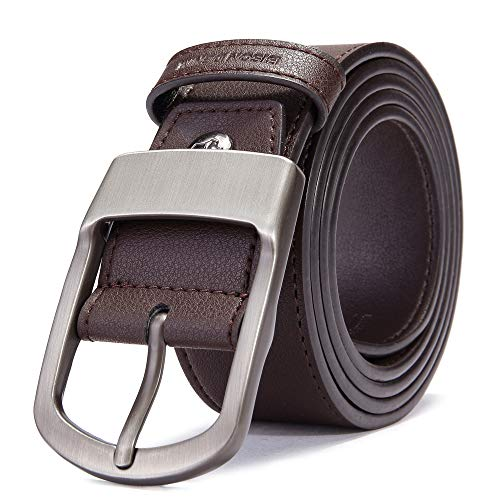 - BISON DENIM Men's Leather Belt Genuine Leather Dress Belt Casual Fashion Single Prong Buckle Belts for Jeans (Brown-71405, 110(waist size:33'' to 36''))