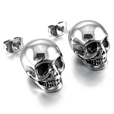 MENDINO Mens Stainless Steel Stud Earrings Silver Tone Black Skull
