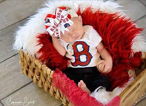 Boston Red Sox Baby Girl Boutique Bow Crocheted Headband, Fits Newborn- Adult Boston Red Sox Headband