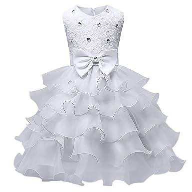 6646917b9dccb Happy Cherry Robe de Mariage Fille Cérémonie Robe de Princesse Soirée  Spectacle Tulle Voluminant Carnavale Déguisement