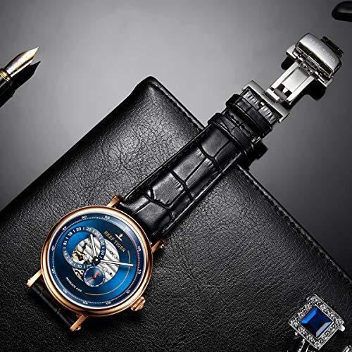 Reef Tiger Luxury Brand Men Designer Watches Blue Reserve Automatic Watch Leather Strap RGA1617