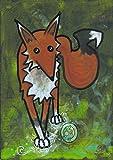 Fox #1 on green silly Lowbrow Cartoon animal Original Art acrylic Painting 5 x 7