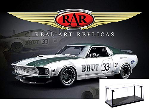 Real Art Replicas Diecast Car & LED Display Case Package - 1969 Ford Mustang Boss 302 Trans Am Hard Top, Allan Moffat #33 RAR18002 - 1/18 Scale Diecast Model Toy Car w/LED Display Case