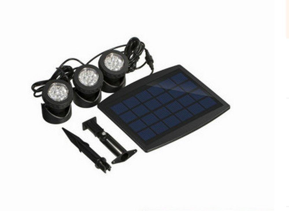 Heartte Solar Powered RGB Color Changing Landscape Spotlight Projection Light for Garden Pool Pond Outdoor Decoration & Lighting with 3 Submersible Lamps (BSW-SL318C)