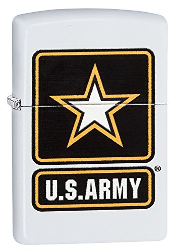 Zippo US Army Logo Pocket Lighter, White Matte ()