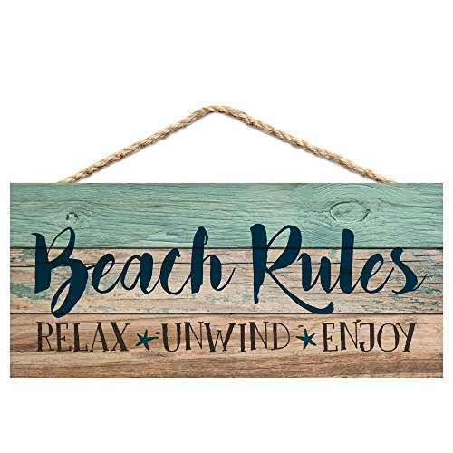 Beach Rules Relax Unwind Enjoy Weathered Wood Plank Design