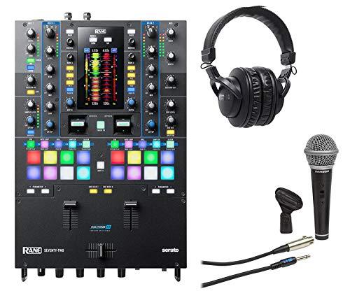 (RANE SEVENTY-TWO Serato DJ Mixer Interface+Audio Technica Headphones+Samson Mic)