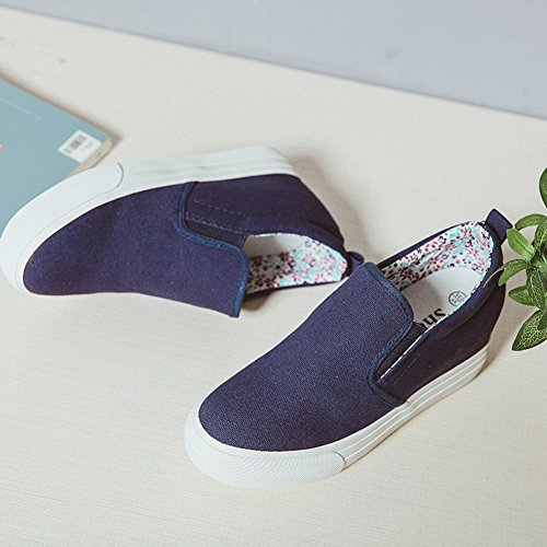 Easemax Womens Fashion Canvas Floral Slip On Round Toe Low Top Mid Platform Sneakers Blue b9sgJ
