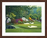 Augusta on the 12th hole by Charles White Framed Art Print Wall Picture, Brown Frame with Hanging Cleat, 31 x 25 inches