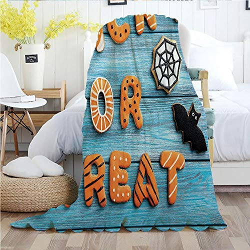 Halloween,Throw Blankets,Flannel Plush Velvety Super Soft Cozy Warm with/Fresh Trick or Treat Gingerbread Cookies on Blue Wooden Table Spider Web Ghost Decorative/Printed Pattern(60