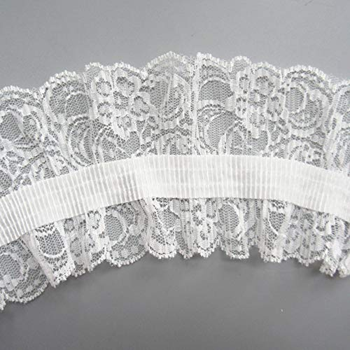 3 Meters Pleated Net Stretch Lace Edge Trim Ribbon 9 cm Width White Trimming Elastic Fabric Embroidered Applique Sewing Craft Wedding Bridal Dress Extender Party Hat Clothes Decoration - Net Stretch Lace