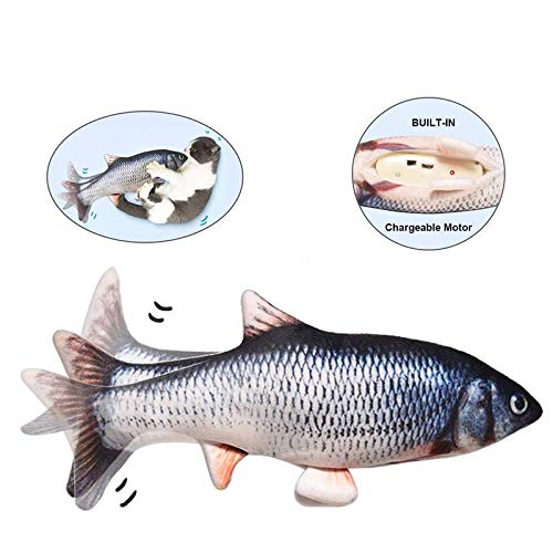 DIDIPET Realistic Plush Simulation Electric Doll Fish, Funny Interactive Pets Chew Bite Supplies for Cat Kitty Kitten Fish Flop Cat Toy Catnip Toys - Perfect for Biting, Chewing and Kicking (Catfish)