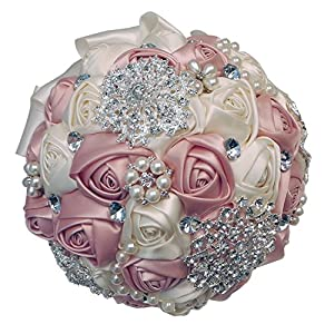 Abbie Home Advanced Customization Romantic Bride Wedding Holding Toss Bouquet Rose with Pearls and Rhinestone decorative brooches Accessories-Multi color selection (Pink) 10