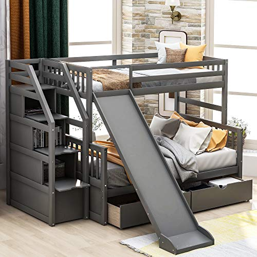 Solid-Wood-Bunk-Beds-Twin-Over-Full-Size-Bunk-Frame-with-2-Drawers-Slide-Stairs-with-Storage-Function-Bunk-Can-be-Divided-into-Two-Beds-for-KidsAdults-Gray