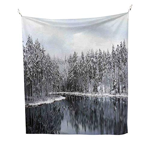 Woodland Decorfunny tapestryLake Surrounded by Snow Covered Trees on a Cold Winter Day in Finland Reflections 60W x 80L inch Quote Tapestry ()
