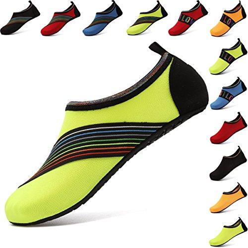 VIFUUR Wassersport Schuhe Barfuß Quick-Dry Aqua Yoga Socken Slip-On für Männer Frauen Kinder Xidaiyellow