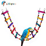 12 Steps Bird Toys 31 inch Wood Bird Ladder, Step Parrot Ladder Swing Bridge,Bird Cage Accessories Decorative Flexible Cage Wooden Rainbow Toy for Cockatiel Conure Parakeet Birdcage Training Larger Image