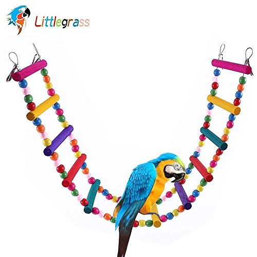 12 Steps Bird Toys 31 inch Wood Bird Ladder, Step Parrot Ladder Swing Bridge,Bird Cage Accessories Decorative Flexible Cage Wooden Rainbow Toy for Cockatiel Conure Parakeet Birdcage Training ()
