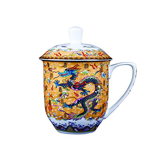 - Large Ceramic Mug Cup with Chinese Dragon,Bone China Afternoon Tea Cup Mugs,Gift for Home,Office, 850ml