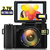 Digital Camera Vlogging Camera 24MP 2.7k Full HD Camera with Flip Screen 180 Degree Rotation for YouTube