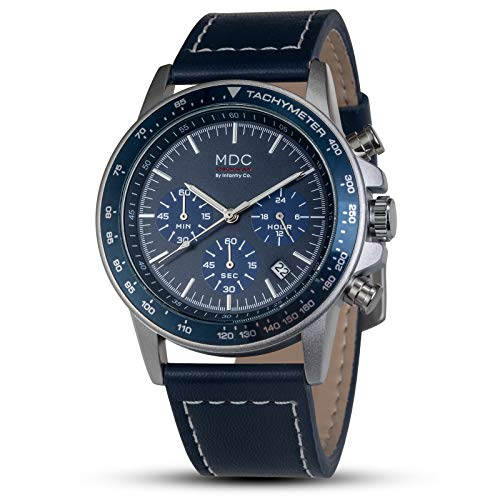 Man Mens Leather Watch Casual Pilot Aviator Field Military Army Tactical Analog Wrist Watches for Men Deep Blue by MDC (Casual Pilot)