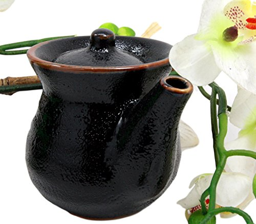 Atlantic Collectibles Japanese Tenmoku Glazed Porcelain Soy Sauce Condiment Dispenser Flask 8oz